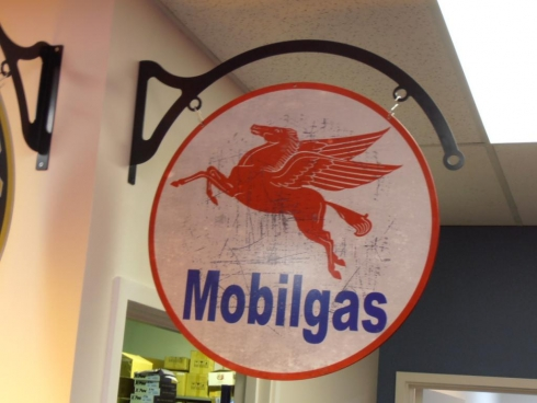 Mobil Service Station Swinging Sign with Arched Frame
