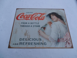 Coca Cola Drinking from A Bottle Classic Sign
