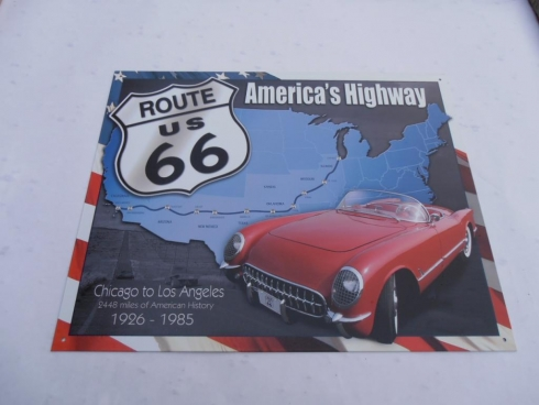 Route 66 Advertising Tin Sign